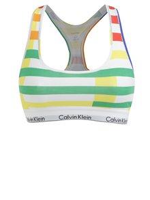 Zeleno-bílá pruhovaná podprsenka Calvin Klein