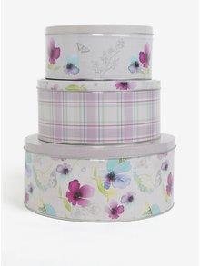 Bílo-fialová sada tří plechových dóz s květovaným motivem Cooksmart