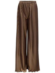 Pantaloni largi de culoare aurie cu pliuri si talie inalta Alexandra Ghiorghie Pelerin