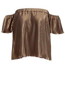 Plisovaný top s odhalenými rameny ve zlaté barvě Alexandra Ghiorghie Pelerin