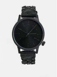 Černé pánské hodinky Komono s koženým páskem Harlow
