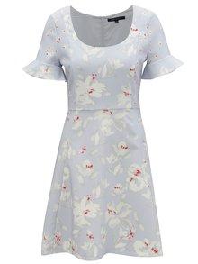 Světle modré květované šaty s volány na rukávech French Connection Alba