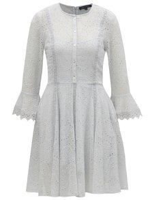 Svetlomodré šaty s vyšívaným vzorom a 3/4 rukávom French Connection Derna