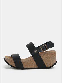 Sandale negre cu platforma wedge - OJJU
