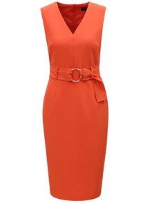 Oranžové puzdrové šaty s opaskom Dorothy Perkins