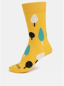 Oranžové unisex ponožky s motívom stromov Fusakle Ovocný sad