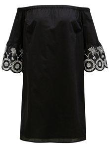 Čierne šaty s odhalenými ramenami a madeirou Dorothy Perkins
