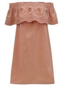 Staroružové šaty s odhalenými ramenami a madeirou Dorothy Perkins