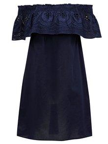 Tmavě modré šaty s odhalenými rameny a madeirou Dorothy Perkins