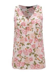 Ružová kvetovaná blúzka bez rukávov Dorothy Perkins Curve