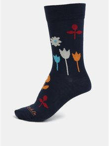 Tmavomodré unisex kvetované ponožky Fusakle Na lúke