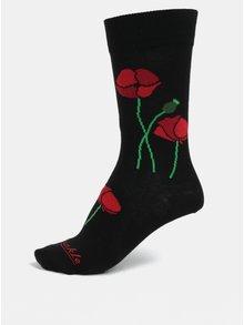 Čierne unisex ponožky s motívom vlčieho maku Fusakle Papaver