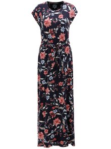 Tmavomodré kvetované maxišaty s opaskom Dorothy Perkins Tall