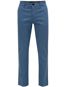 Modré pánské slim chino kalhoty NUGGET Lenchino