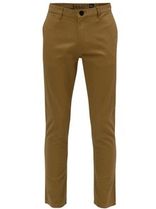Světle hnědé pánské slim chino kalhoty NUGGET Lenchino