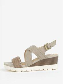Sandale de dama crem din piele cu platforma wedge - Geox Marykarmen