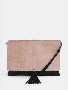 Černo-růžová kožená crossbody kabelka s kožešinovou klopou ZOOT