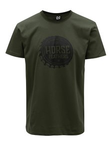 Tmavě zelené pánské tričko s potiskem Horsefeathers Helmet