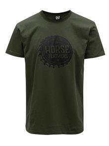 Tricou verde inchis cu print pentru barbati - Horsefeathers Helmet