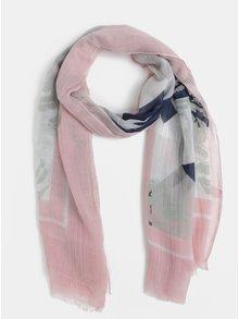 Světle růžový vzorovaný šátek Pieces Dawn