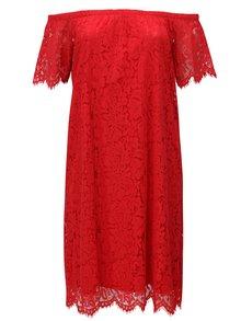 Červené čipkové šaty so spadnutými ramenami Zizzi