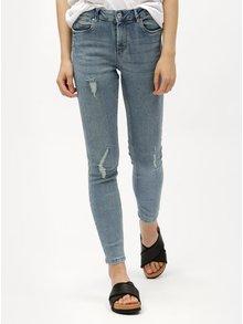 Světle modré slim džíny s potrhaným efektem VERO MODA Seven