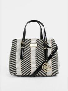 Černo-krémová vzorovaná kabelka s detaily ve zlaté barvě Gionni Bess
