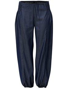 Tmavomodré voľné nohavice s gumou v páse Zizzi