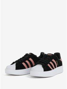 Růžovo-černé dámské semišové tenisky na platformě adidas Originals Superstar