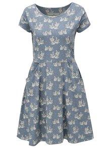 Svetlomodré šaty s motívom labutí Brakeburn