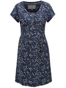Tmavomodré kvetované šaty s krátkym rukávom Brakeburn