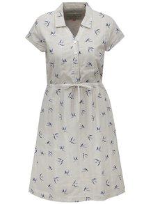 Béžové košeľové šaty s motívom vtáčikov Brakeburn