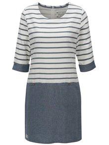 Modro-biele pruhované šaty s 3/4 rukávom Brakeburn