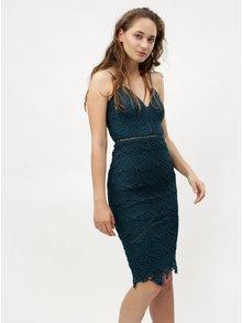 Modrozelené pouzdrové krajkové šaty na ramínka MISSGUIDED