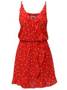 Červené puntíkované šaty s volánky ONLY Rubbi