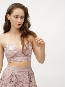 Starorůžový krajkový crop top MISSGUIDED