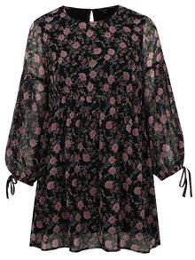 Černé květované šaty s dlouhým rukávem simply be.