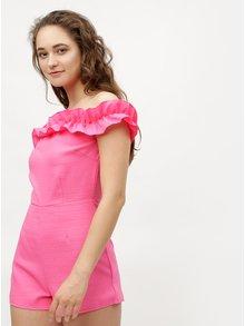 Růžový krátký overal s odhalenými rameny MISSGUIDED