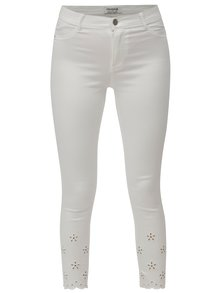 Blugi albi skinny crop din denim cu decupaje pe picioare Dorothy Perkins
