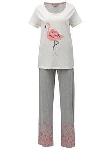 Krémovo-šedé pyžamo s motivem plameňáka Dorothy Perkins