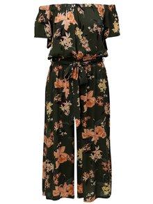Khaki květovaný zkrácený overal s odhalenými rameny Dorothy Perkins
