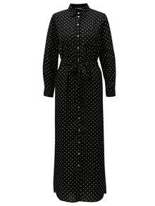 Čierne bodkované košeľové maxišaty Dorothy Perkins Petite