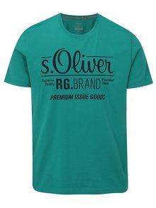 Zelené pánské tričko s potiskem s.Oliver