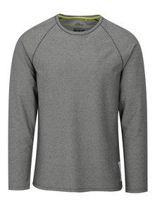 Sivé pánske pruhované tričko s dlhým rukávom s.Oliver