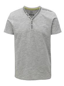 Šedé pruhované pánské slim fit tričko s.Oliver