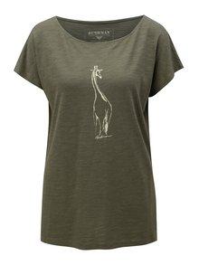 Tricou de dama verde inchis cu print de girafa BUSHMAN Galleria