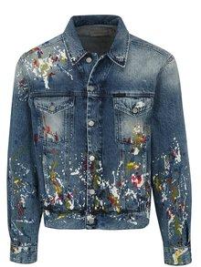 Modrá pánska rifľová bunda s potlačou Calvin Klein Jeans