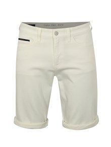 Krémové pánske rifľové slim kraťasy Calvin Klein Jeans