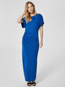 Rochie maxi albastru inchis cu pliuri laterale Selected Femme Helen