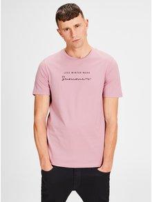 Ružové tričko s potlačou Jack & Jones Lilas